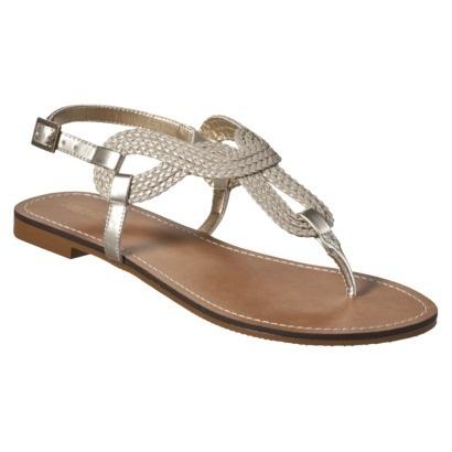 Women's Merona® Emeline Braided Flat Sandals - Gold
