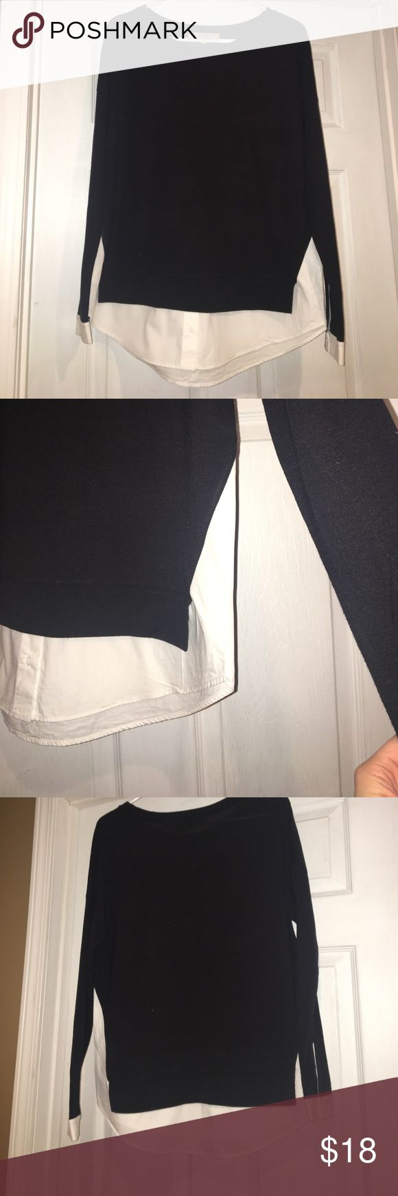 2-in-1 faux layered blouse This versatile top gives the look of being layered without having the weight of two shirts on! Faux white layer is sewn in. LOFT Tops Blouses