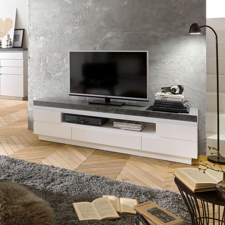 Tv-meubel Namona II (inclusief verlichting) - wit/antracietkleurig