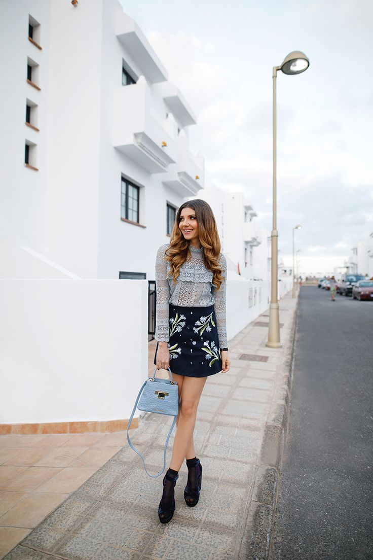 Baby blue lace top and embroidery skirt from @chic_wish in this white neighbourhood in Fuerteventura today on my blog: http://larisacostea.com/2017/02/white-neighbourhood/