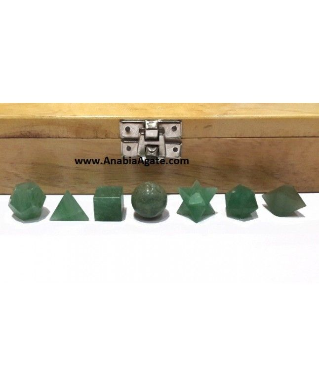 Green Aventurine 7pcs Geometry Set With Wooden Box