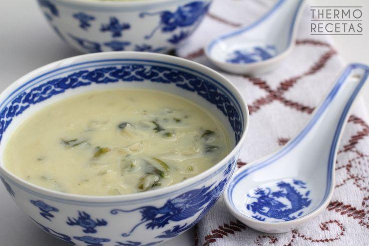 Sopa de espinacas con puerro y leche de coco - http://www.thermorecetas.com/sopa-de-espinacas-y-puerro/