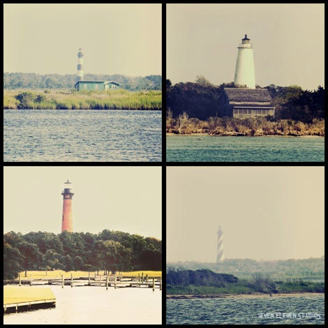 We love these vintage nautical ocean art prints from the Outer Banks lighthouses.