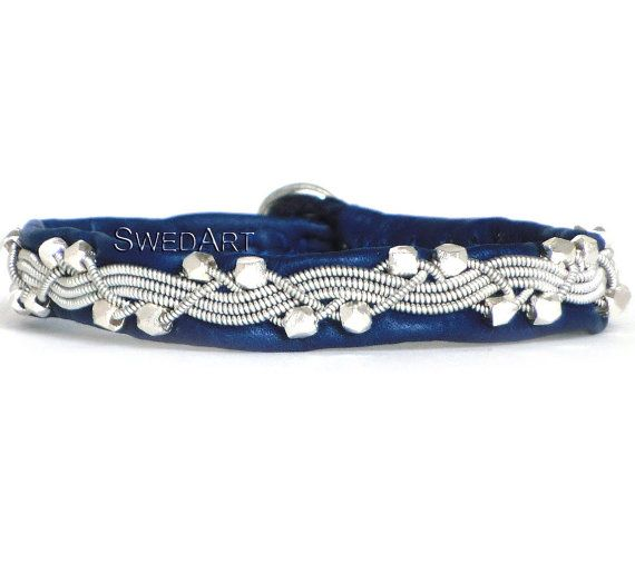 SwedArt B111 Icy River Lapland Sami Reindeer Bracelet with Handmade Faceted Solid Silver Beads Pewter Button 3/8 Wide Navy Blue SMALL S Women´s 6 3/4 (17 cm) for 6 1/4 (15.5-16 cm) wrist, 5/16 wide For SIZE, measure your wrist and add half an inch (12-15 mm). The leather can stretch up to 5 mm over time. SHIPPING and HANDLING from Boston, MA, is $3 for several pieces of jewelry with USPS First Class Mail and $7 for international USPS First Class. Please convo me if you need Priority…