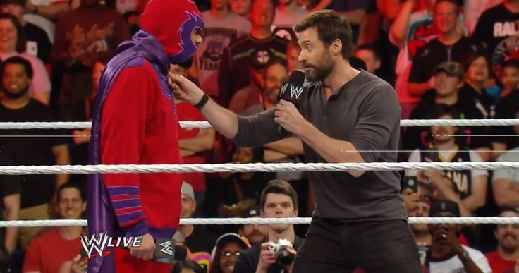 Watch Hugh Jackman Battle Fake Magneto on WWE Raw! -- The actor showed up to promote his latest mutant adventure only to be confronted by Damien Sandow in disguise. Watch as they battle in the ring! -- http://www.movieweb.com/news/watch-hugh-jackman-battle-fake-magneto-on-wwe-raw