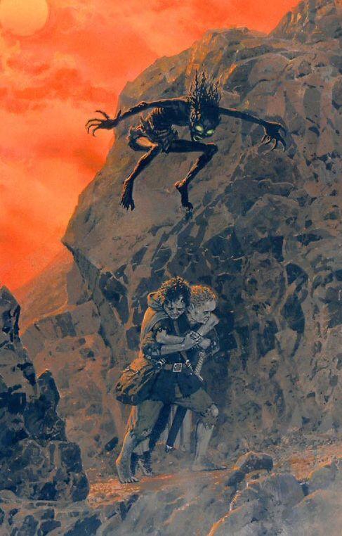 Gollum surprenant Sam et Frodon