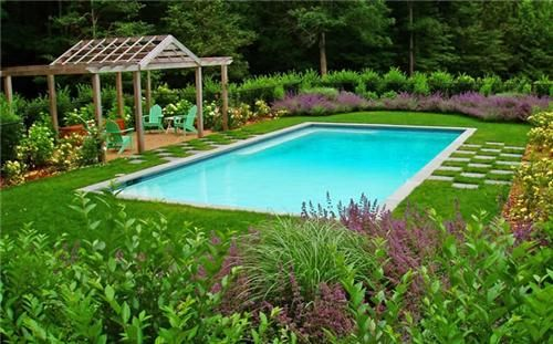 Swimming pool with grass around it google search pools for Pool deck landscaping