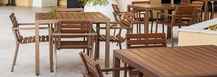 Very good in all weather conditions, especially windy areas; easy to clean  http://www.pavilion-furniture.com/product-category/ecowood