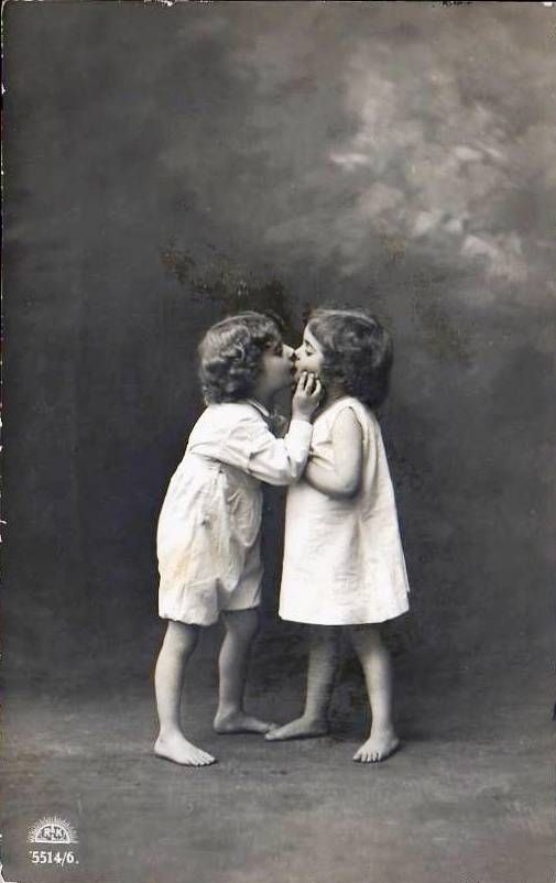 First kiss pictures little boy and girl photo postcard