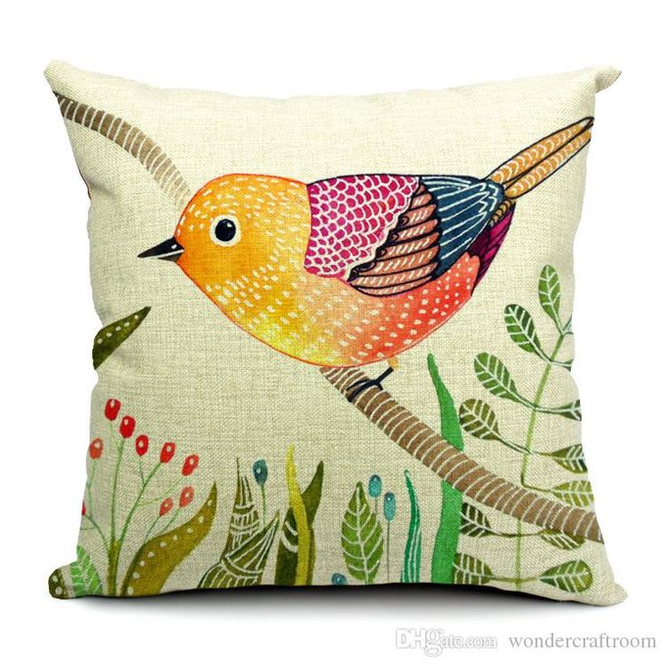 5 Styles Hand Painting Birds Cushions Covers Pillowcase Bird Tree Cushion Cover…