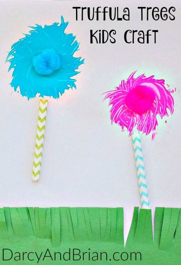 Check out this amazing Dr. Seuss Craft Truffula Trees Fork Painting that is perfect for celebrating Dr. Seuss birthday or encouraging kids to read! by geneva