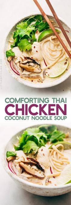 Creamy Comforting Ch Creamy Comforting Chicken Coconut Noodle...  Creamy Comforting Ch Creamy Comforting Chicken Coconut Noodle Soup - A Tom Kha Gai soup meets an American classic - chicken noodle. This soup is rich and comforting! #tomkhagai #thaisoup #coconutnoodlesoup #chickennoodlesoup | Littlespicejar.com Recipe : http://ift.tt/1hGiZgA And @ItsNutella  http://ift.tt/2v8iUYW