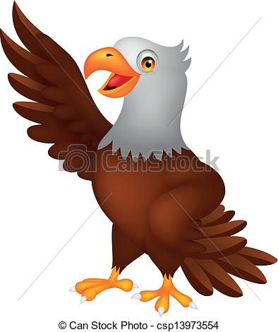 Vector - Eagle cartoon waving - stock illustration, royalty free illustrations, stock clip art icon, stock clipart icons, logo, line art, EPS picture, pictures, graphic, graphics, drawing, drawings, vector image, artwork, EPS vector art
