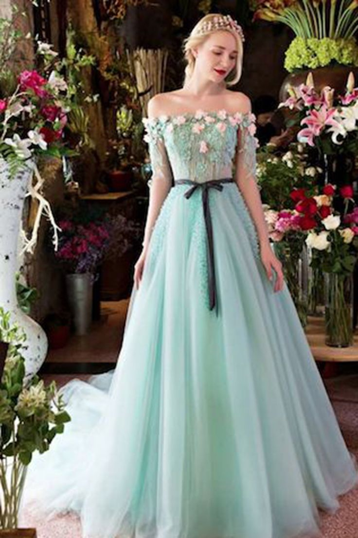 Off-shoulder prom dress, ball gown, beautiful mint organza long dress for prom 2017