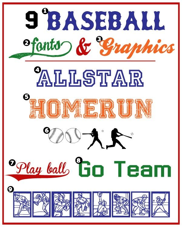 Baseball Fonts and Graphics #baseball #fonts #sports