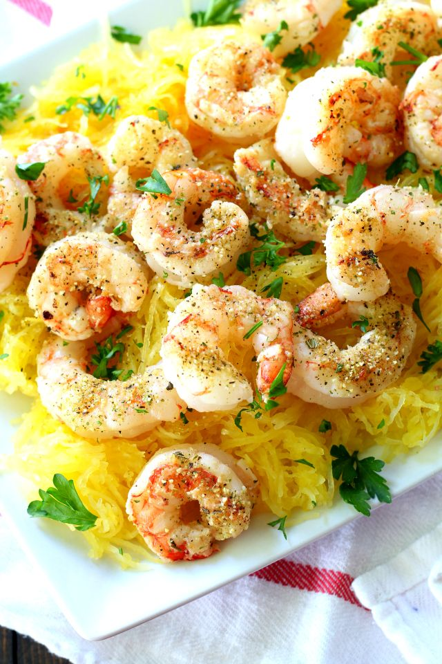 Spiced Grilled Shrimp and Spaghetti Squash by honestcooking #Shrimp #Spaghetti_Squash #Healthy #Light