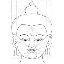 Grid pattern of the face of the Buddha according to the Tibetan Thangka Tradition, as taught by Carmen Mensink, www.tibetanthangkapainting.com