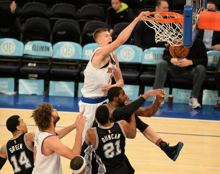 Nasty dunk over a crowd of Spurs. Tim Duncan retired shortly thereafter. (coincidence?) http://mightyshoes.net/kristaps-porzingis-bio-shoes-deal/