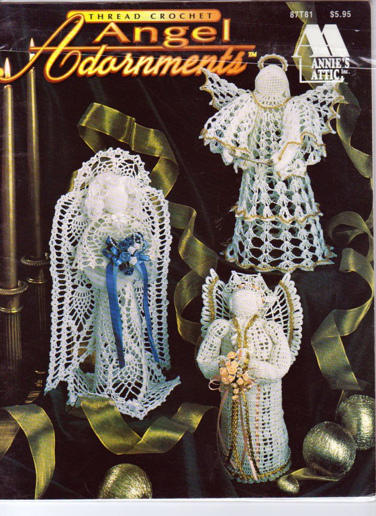 Annies Attic Crochet Patterns : Crochet Angel Adornments, Annies Attic 87T81, Crochet Angel Patterns ...