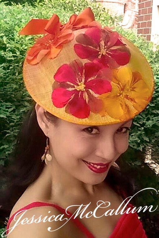 Bespoke DESIGN for hat / fascinator orange for spring