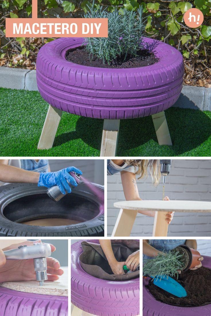 Macetero con patas ➜  Transforma un neumático usado en un macetero con patas de madera, decorado con pintura en spray.  #DIY #Reciclaje #Handfie