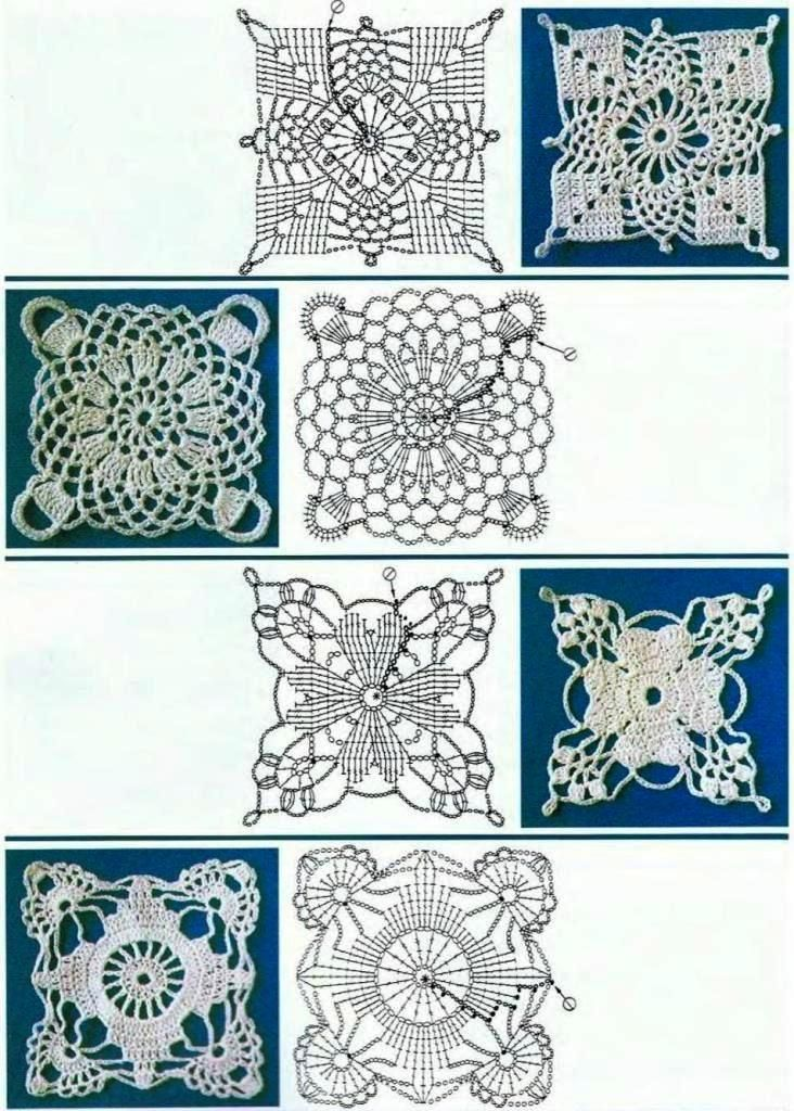 Crochet Square Motifs with charts .... lovely lacy patterns !
