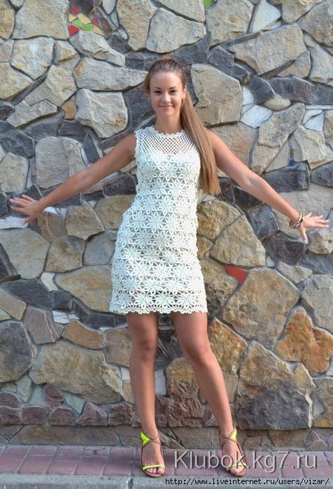 Ажурное платье крючком. Схемы