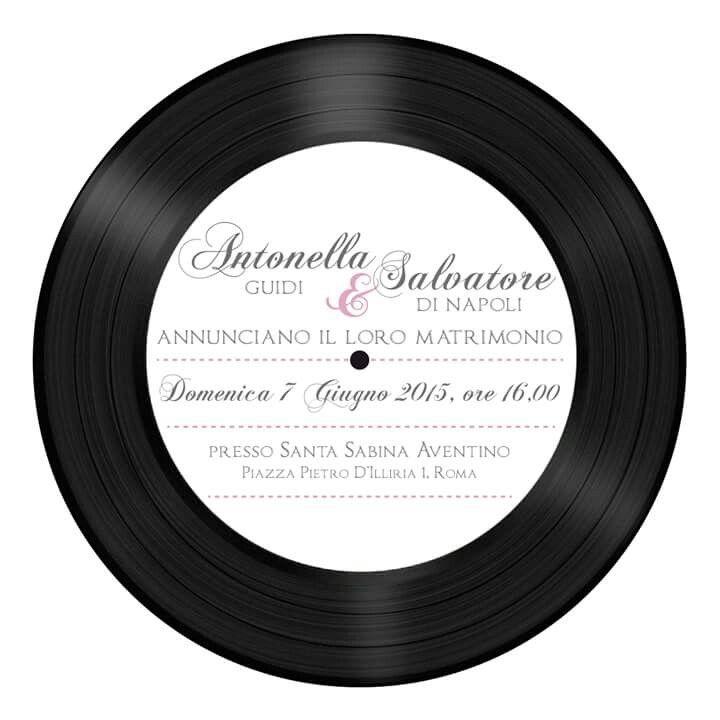 Partecipazione a forma di vinile- matrimonio a tema musica