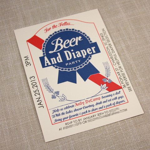 PBR Inspired Beer and Diaper Shower Invitation