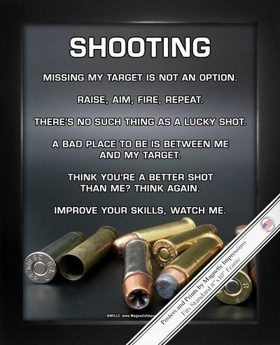 "Shooting Poster Print is full of attitude. Funny gun quotes and a variety of caliber bullets make this the best gift for shooters. ""Missing my target is not an option"" is just one inspirational saying"