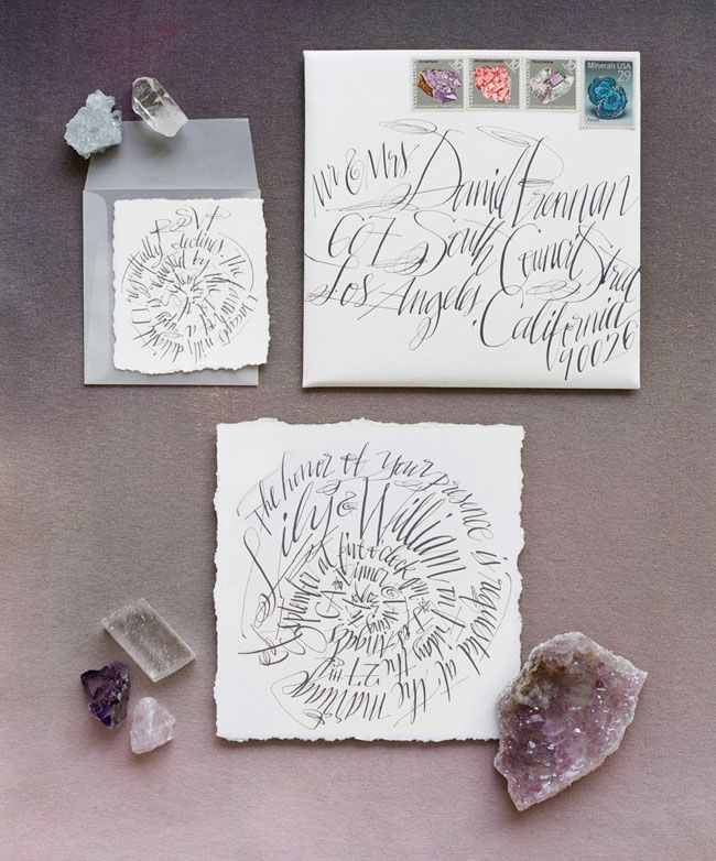 Geode calligraphy wedding invitation