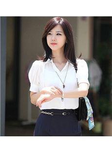 熱い販売韓国スタイルシフォンハーフスリーブTシャツ