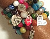 All We Need is Love gemstone stacked beaded charm cuff armcandy bracelet