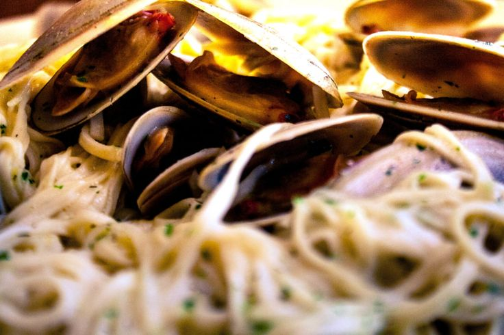 clam linguine close up