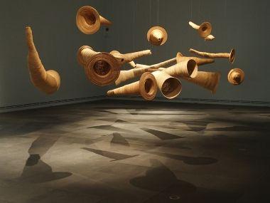 Yvonne Koolmatrie. Installation by Jonathan Jones. Photograph Jeremy Eccles.  Tarnanthi review, Eyeline contemporary visual arts, issue 85.