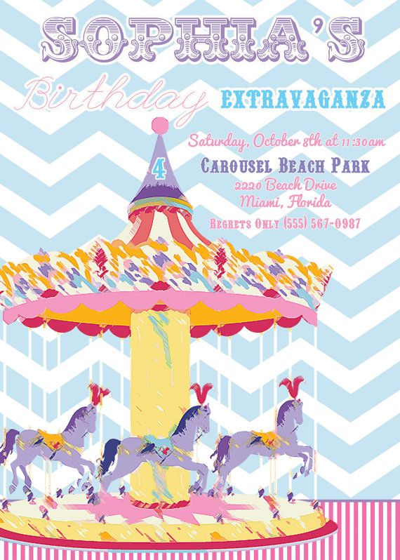 Carousel Birthday Party Invite 20 printed 5x7 by PARTYBOXDESIGN, $40.00