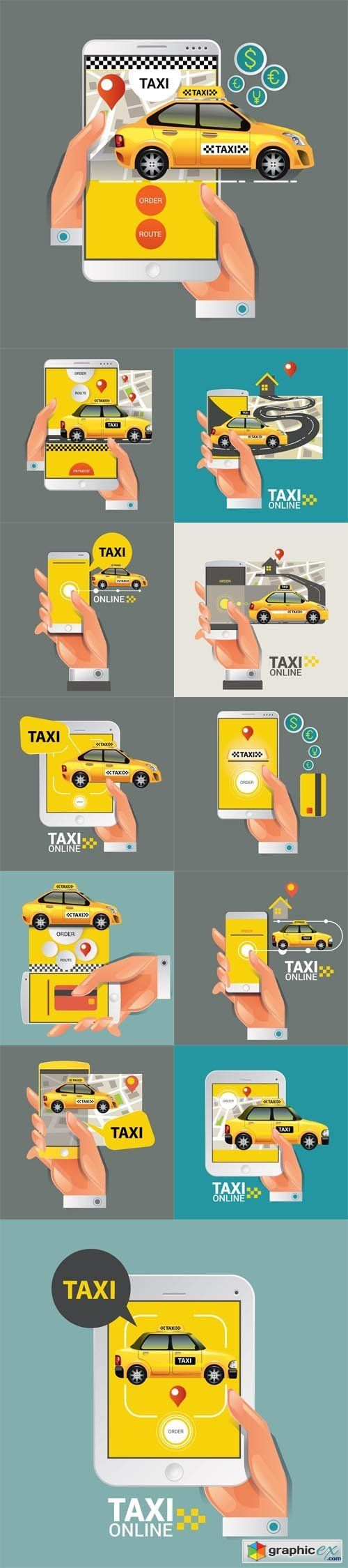 Taxi on line. Taxi sign. Taxi service on smart phone  stock images
