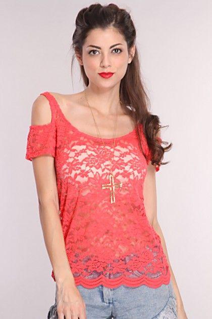 Coral Floral Crochet Mesh Top
