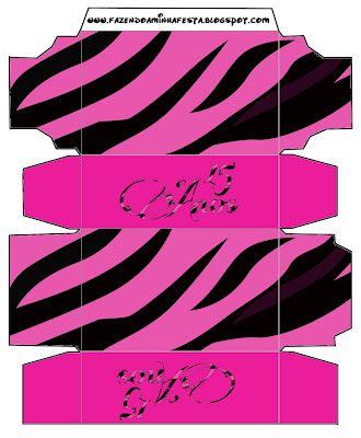 Cajitas Imprimibles 15 años Zebra Rosa.