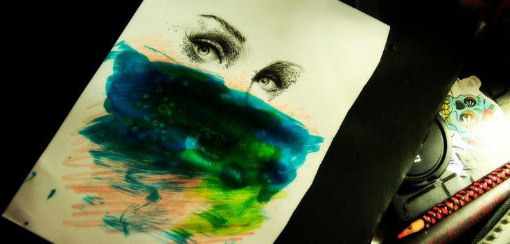 Watercolor Acuarela Ecolines Colors Lápiz  Eyes Ojos Illustration Skull Cráneo  María José Artgumedo https://www.facebook.com/mariajoseartgumedo