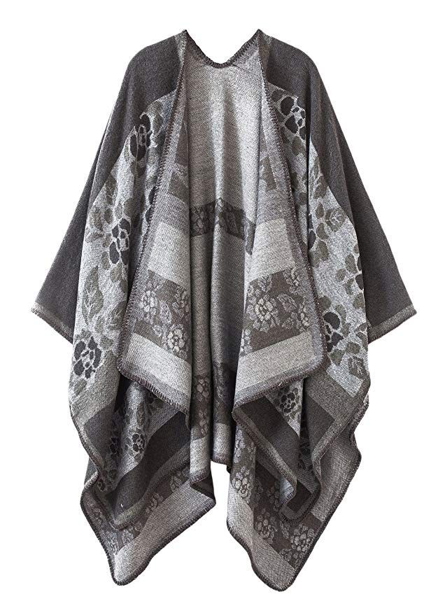 5b2f2c332 Urban CoCo Women's Color Block Shawl Wrap Open Front Poncho Cape (Series  7-Black) at Amazon Women's Clothing store: