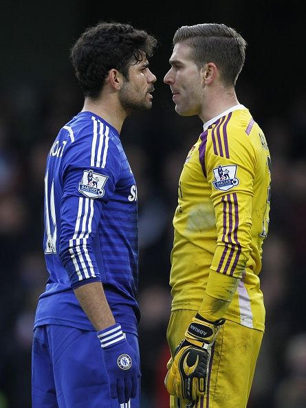 Diego Costa squaring up to Adrian... Big mistake Diego.