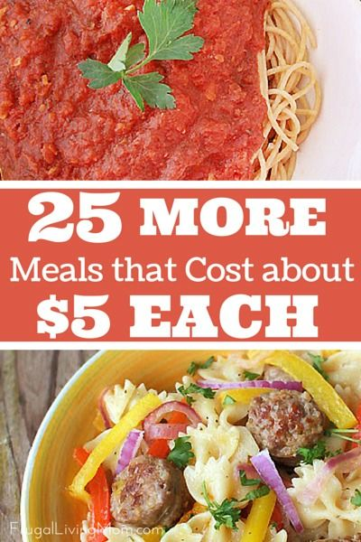 Keep you budget under control with these inexpensive meals. http://www.frugallivingmom.com/25-more-meals-that-cost-about-5-to-make/ My best tip for keeping the costs of the recipes low is to learn to substitute, if you need to.  If ground beef is $5 a pound one week but ground turkey is $2 a pound, use ground turkey.