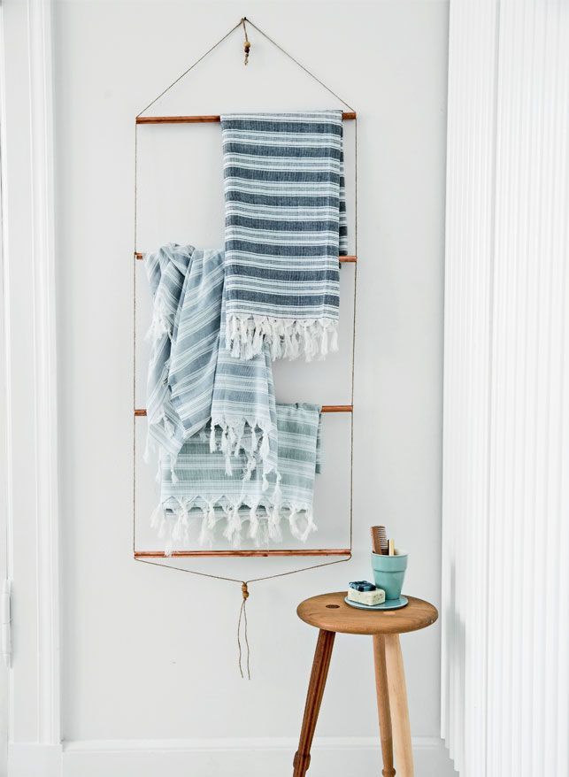 DIY Bathroom Towel Rack with Copper Pipes