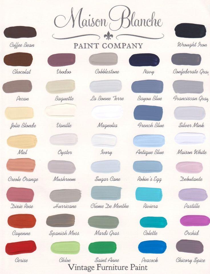 Maison Blanche Paint Company Color Chart #paint #maisonblanchepaint