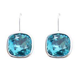 Swarovski Elements Rounded Square Indicolite Blue Earrings