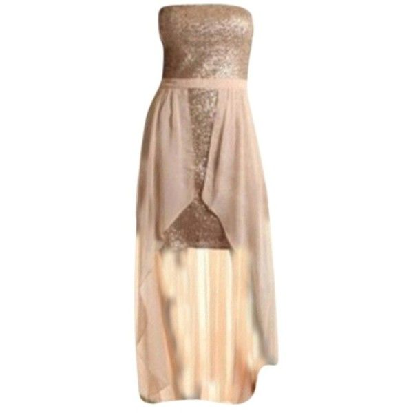 Pre-owned Aidan Mattox Champagne Dress ($146) ❤ liked on Polyvore featuring dresses, vestidos, champagne, strapless formal dresses, sequin cocktail dresses, chiffon dress, sequin chiffon dress y strapless dress