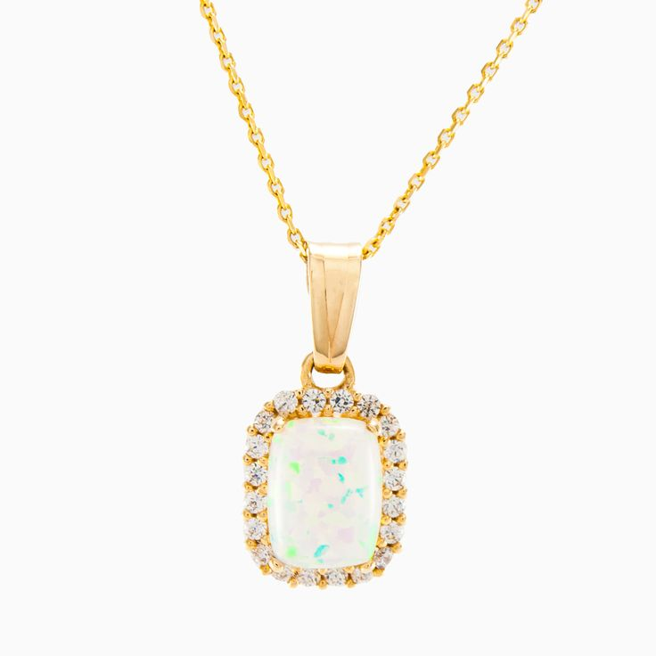 Miraculous, natural opal square pendant is made entirely by hand in 14k yellow gold. Opal framed by a dazzling pavé-set crystals. The chain is not included.