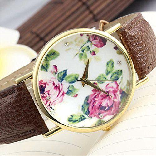 Better Dealz Vintage Blume Damen Armbanduhr Basel-Stil Quarzuhr Lederarmband Uhr Top Watch #3,Kaffee