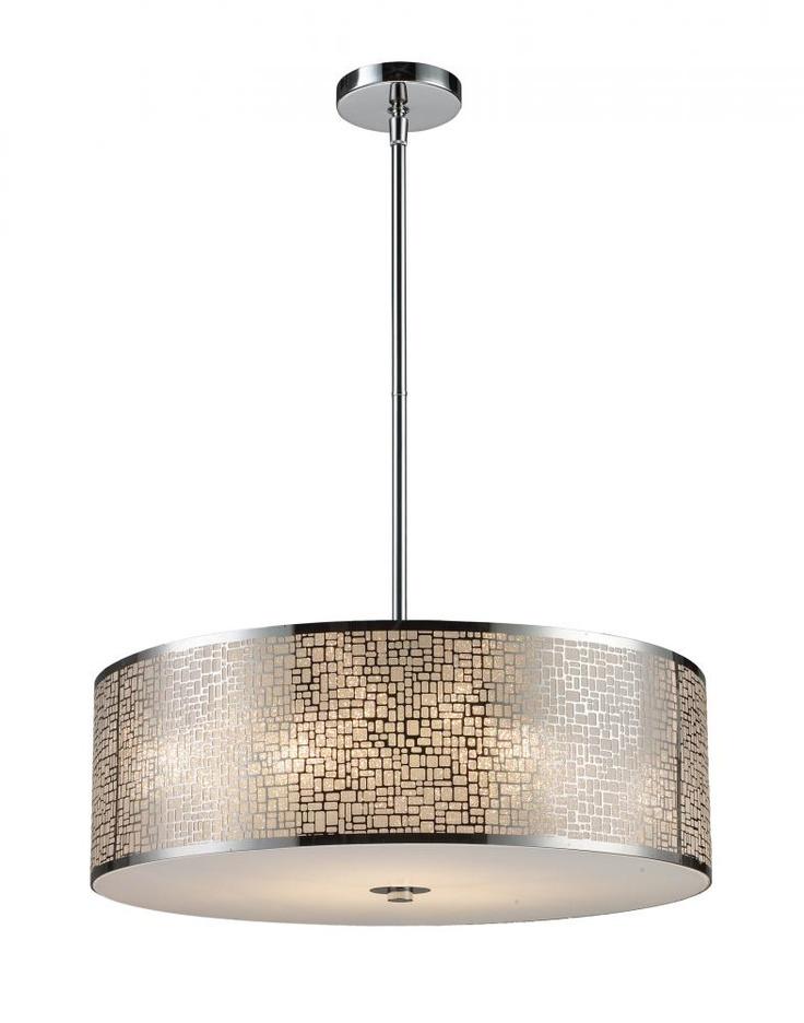 Five light steel drum shade pendant pego lamps